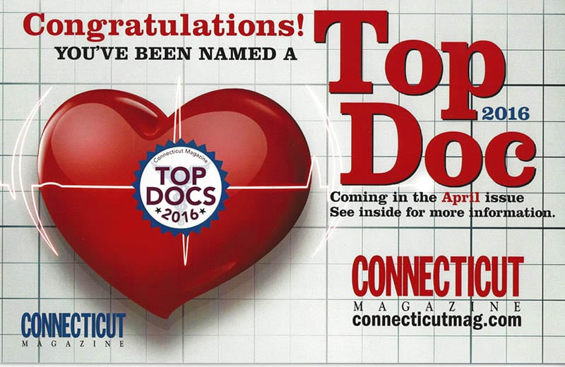 Voted Top Doc in 2016 - Connecticut Magazine